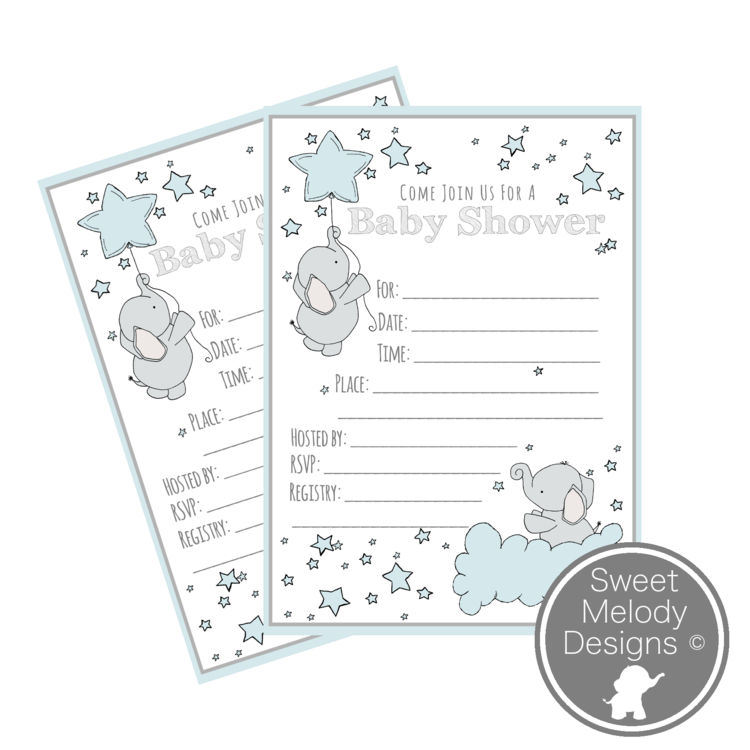 Printable Baby Shower Invitations Elephants And Stars Blue