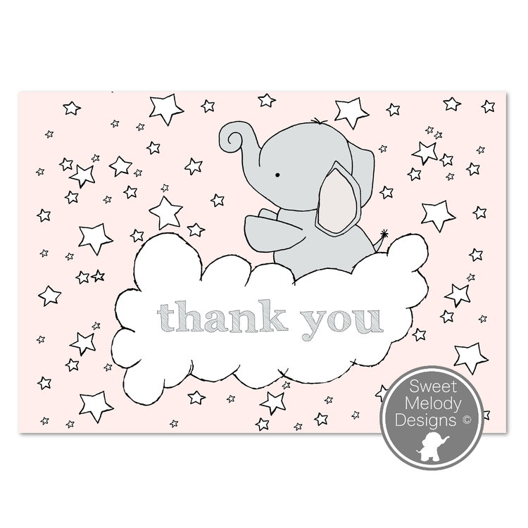 printable baby shower thank you cards elephants and stars pink
