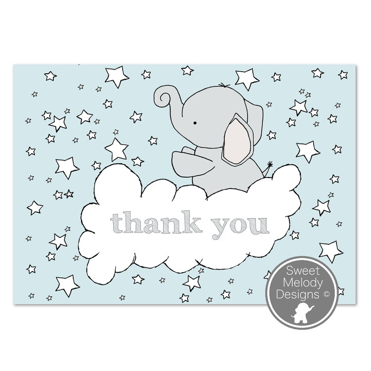 Printable Baby Shower Thank You Cards Elephants And Stars Blue