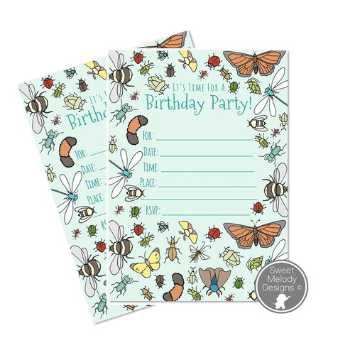 Birthday invites sweet melody designs printable birthday party invitations instant download pdf blank invites all about bugs filmwisefo