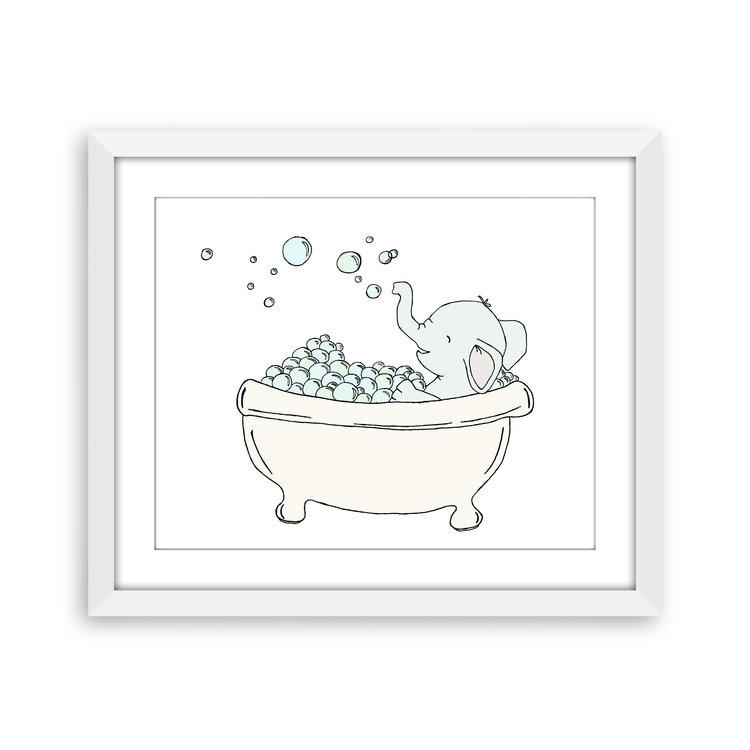 Kids Bathroom Art - Elephant Bubble Bath - Elephant Nursery Art ...