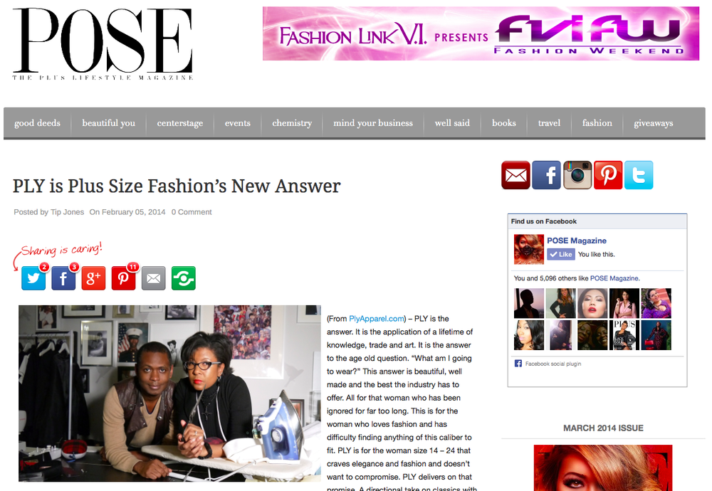 Tip Jones at Pose Magazine...thanks for the love.  Check out the story at   http://www.magpose.com/ply-is-plus-size-fashions-new-answer/