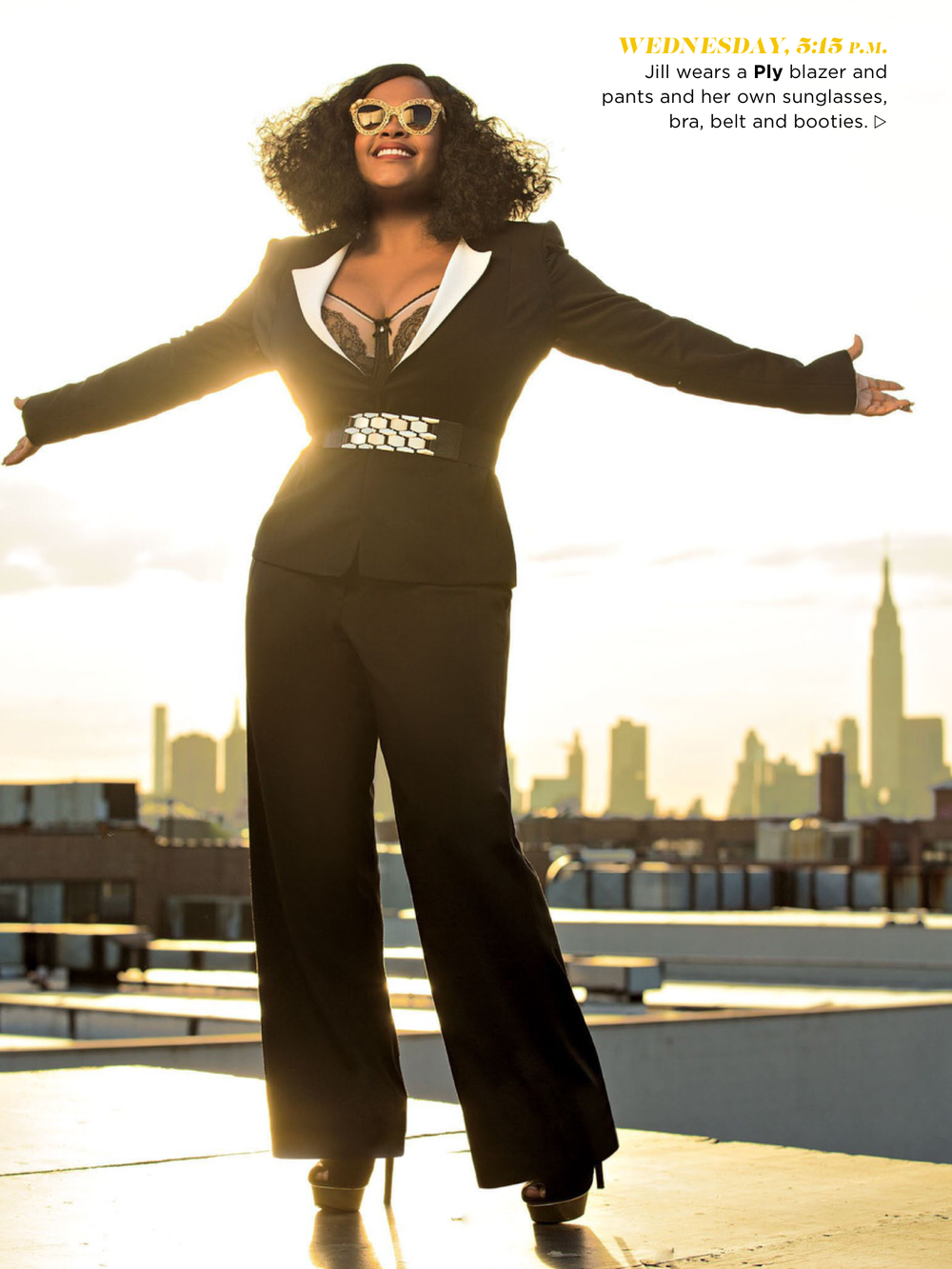 Jill Scott is wearing PLY jacket style #500 http://www.plyapparel.com/shop-ready-to-wear/style-500 and PLY troupe style #301 http://www.plyapparel.com/shop-ready-to-wear/trouser-style-301.  Click the links to pre-order yours now....