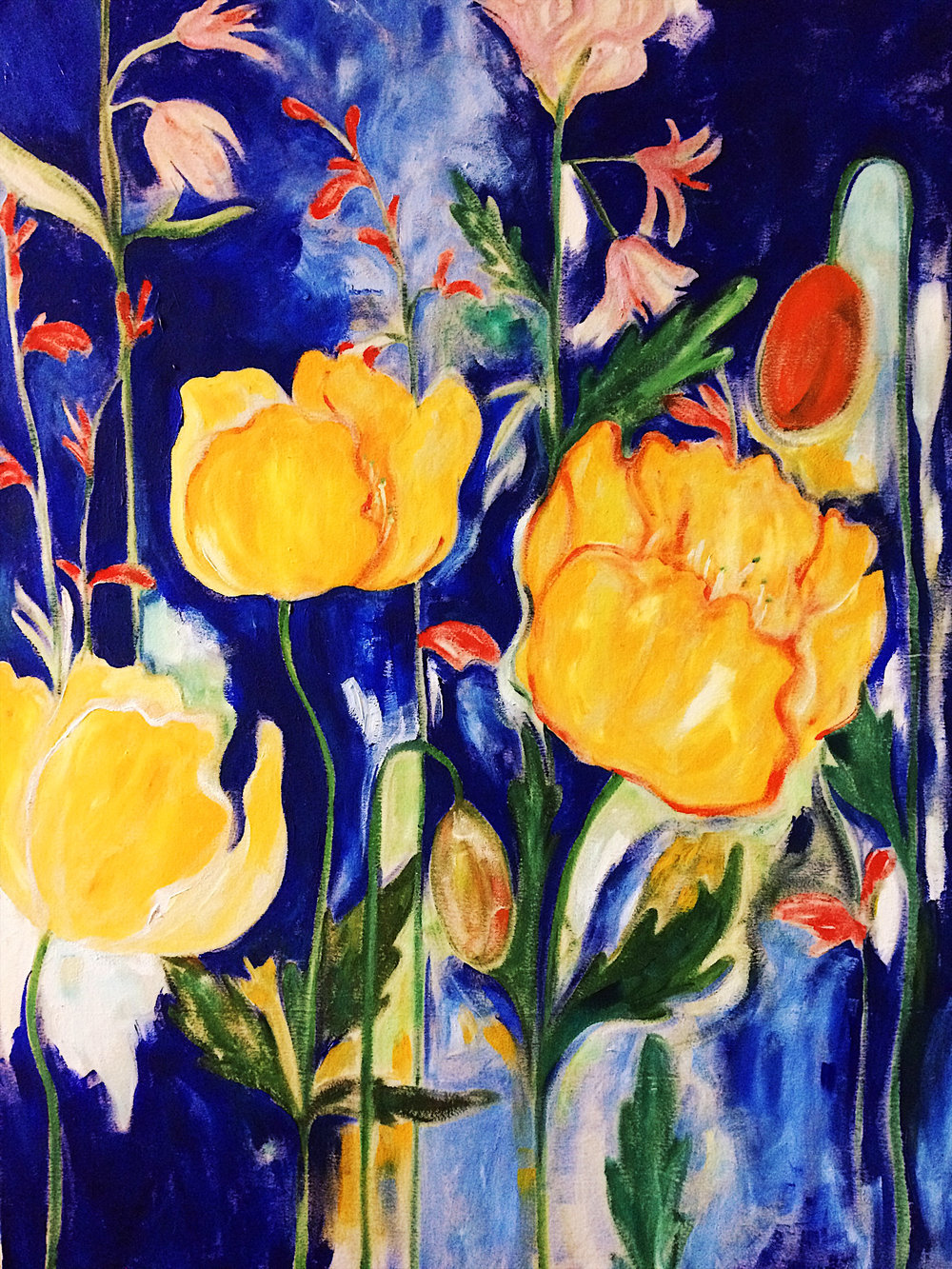 Yellow Poppies, 2017. 40 x 60''