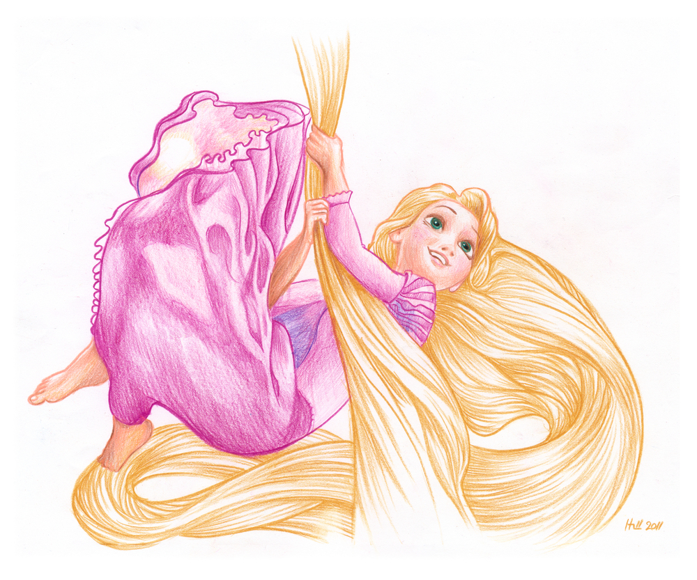 Rapunzel.  Prismacolor pencil on paper 2011.