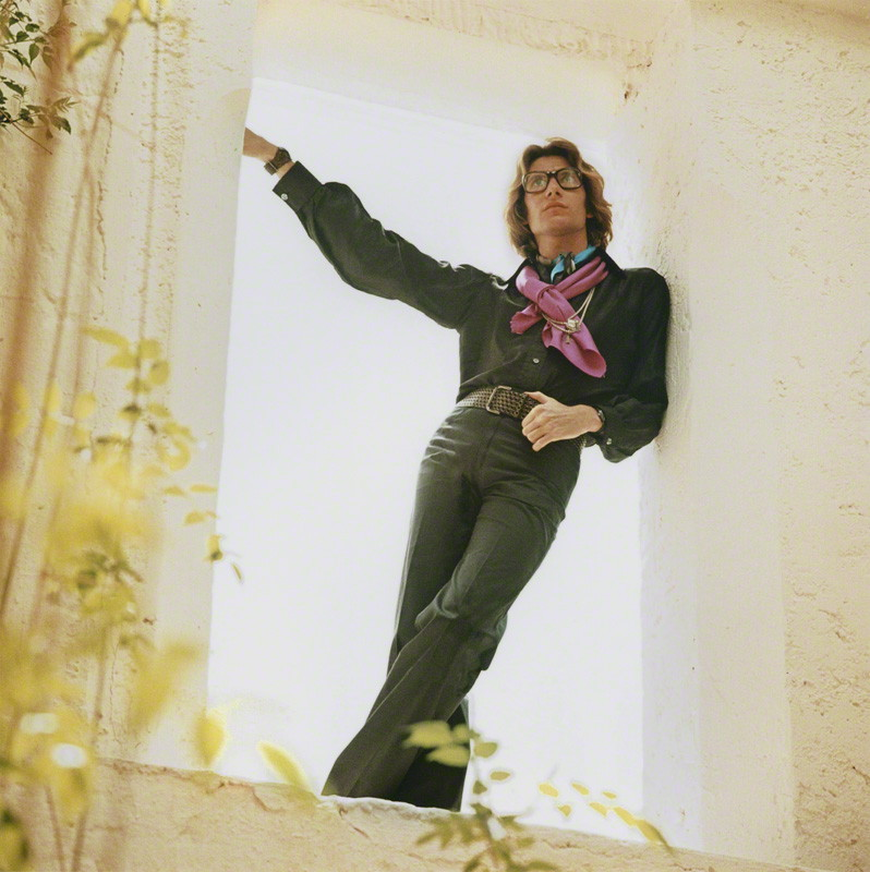 Yves Saint Laurent at his home in Marrakech. Photo by Lord Patrick Lichfield.