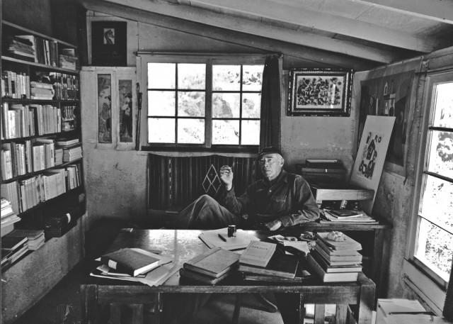Henry Miller in his Big Sur home.