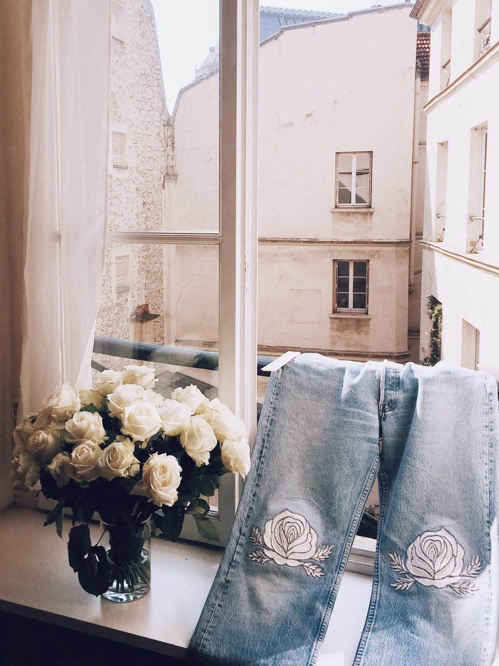 Our Song of the West denim, white roses, and our Parisian courtyard - @blissandmischief