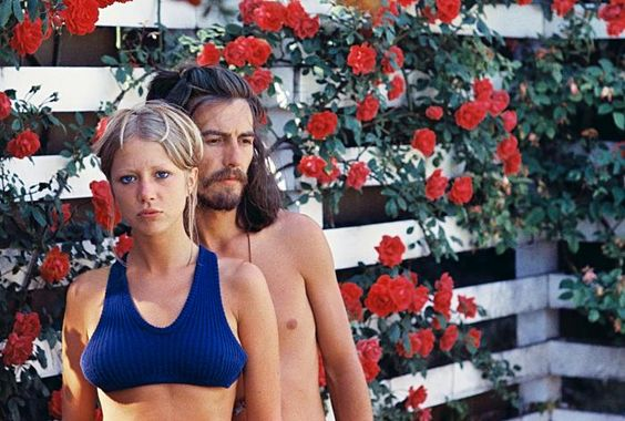 Patti Boyd and George Harrison by Henry Diltz