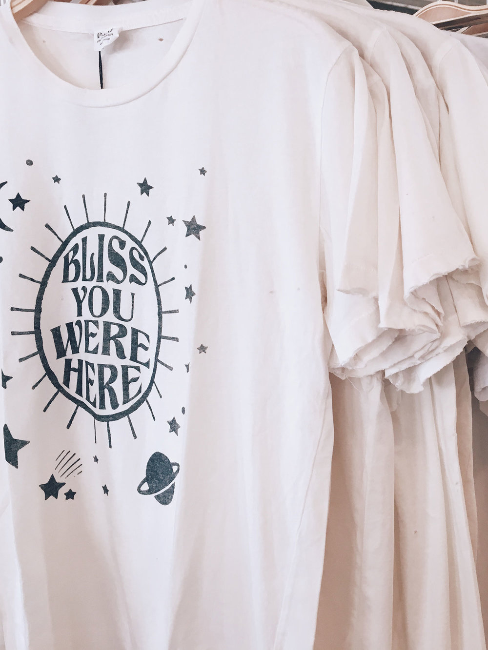 """Made with Care -Here in Los Angeles. - """"L.A. is one of the best places in the world to make t-shirts. They hold up beautfully over time (self-tested by me daily).""""-Hillary Designer/Founder"""