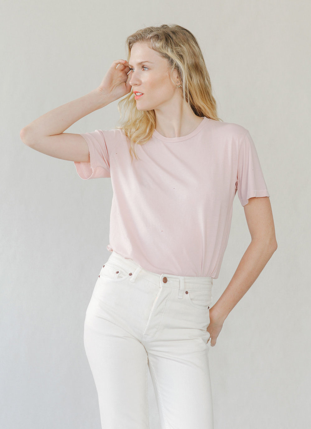 Bliss And Mischief-Destroyed Sunday Tee in Rose