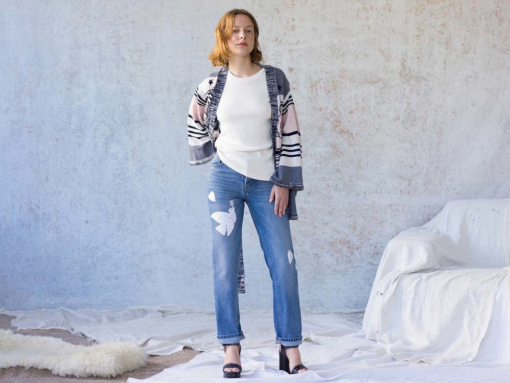 Bliss And Mischief-Peace Dove Embroidered Denim