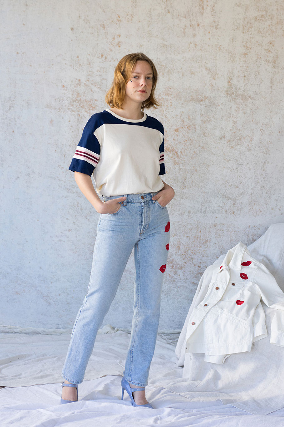 Bliss And Mischief-Kiss Embroidered Denim and Jane Tee