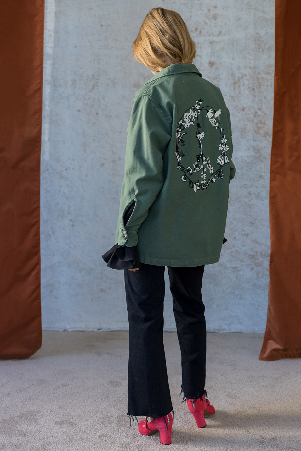 Bliss And Mischief-Sweet Flower Embroidered Army Jacket and Black Sailor Pants