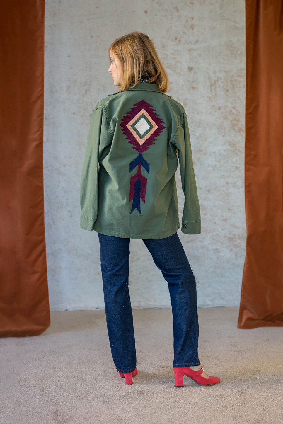 Bliss And Mischief-Spirit Cloud Embroidered Army Jacket