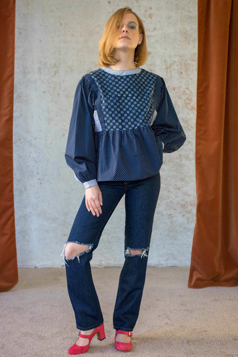 Bliss And Mischief-Patchwork Peasant Blouse