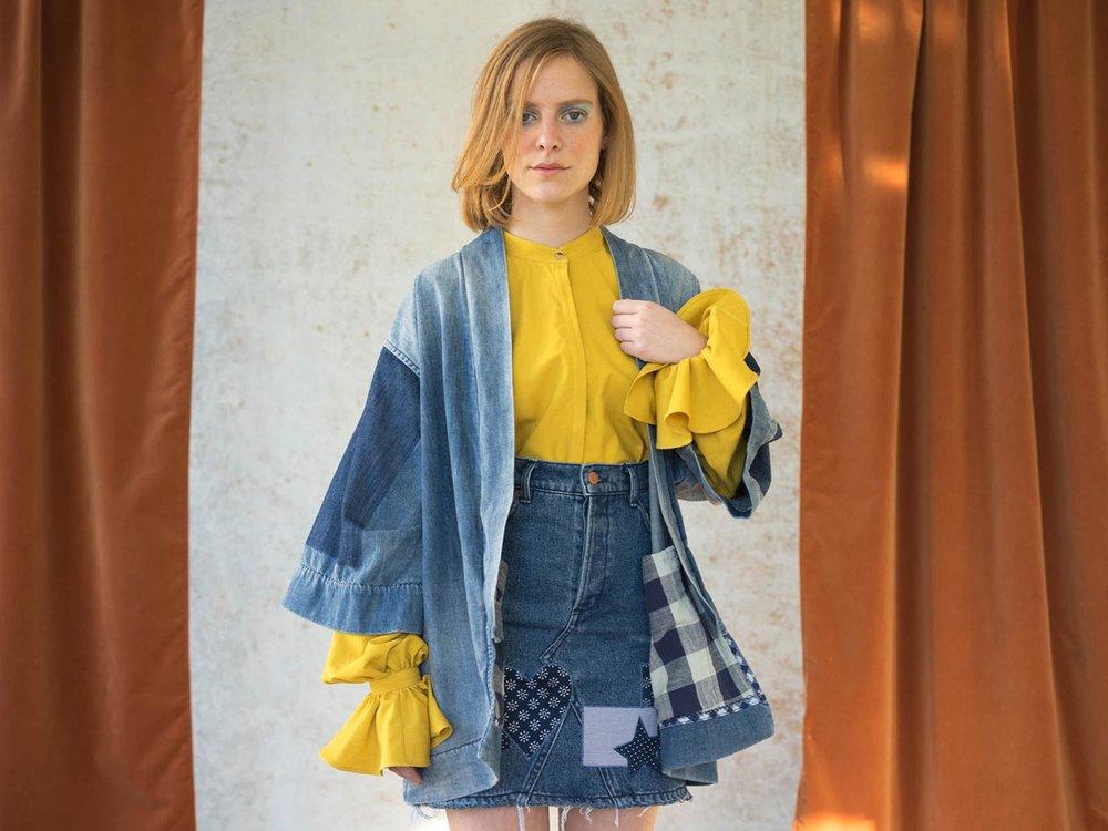 Bliss And Mischief-Sunrise Denim Embroidered Kimono Jacket