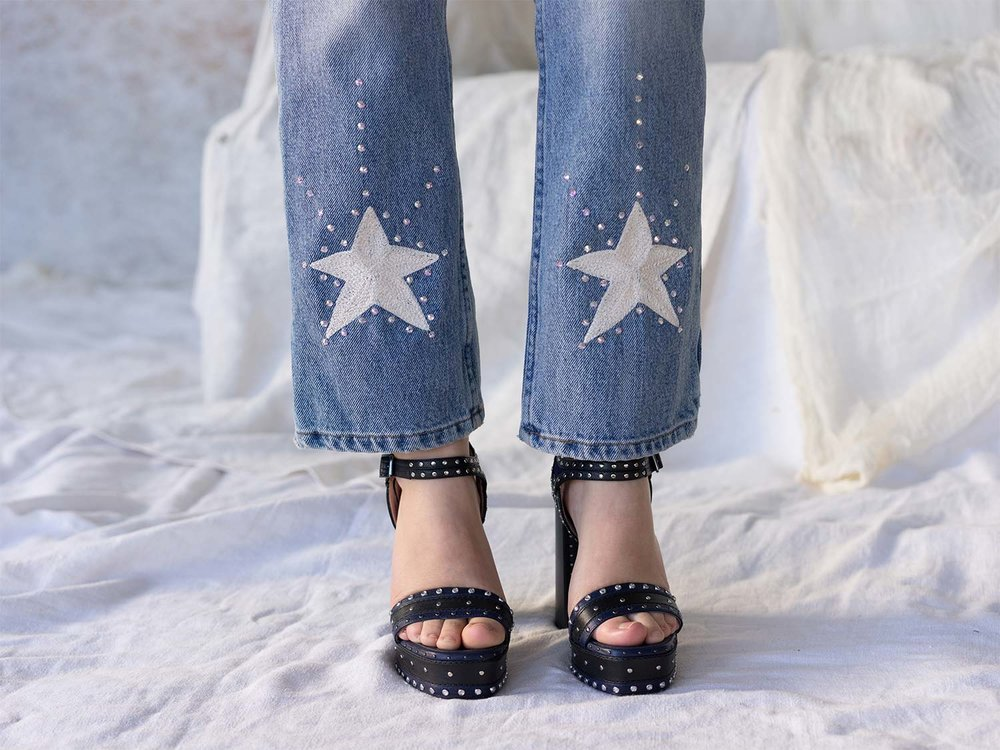 Bliss And Mischief-Stardust Embroidered Denim