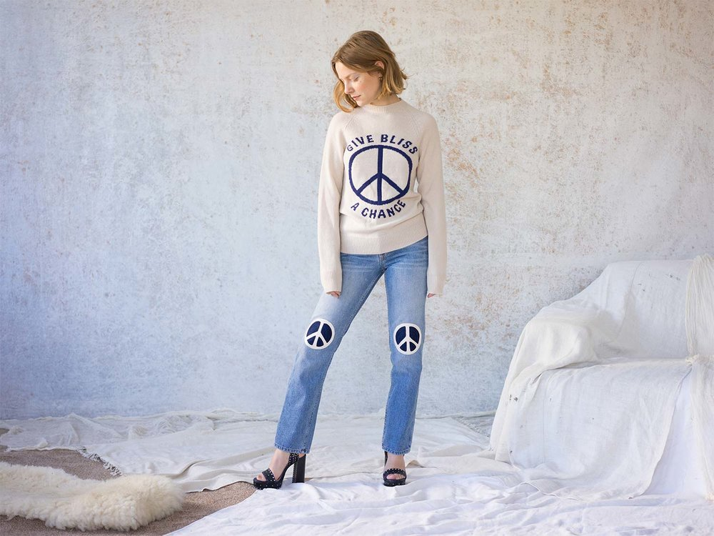 Bliss And Mischief-Peace Embroidered Denim and Peace Cashmere Sweater