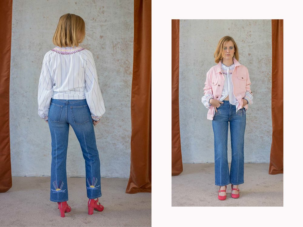 Bliss And Mischief-Sunrise Embroidered Denim and Smock Neck Blouse