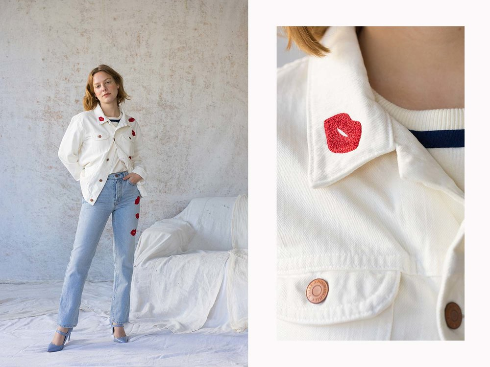 Bliss And Mischief-Kiss Embroidered Denim and Jacket