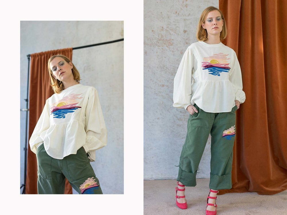 Bliss And Mischief-Sunset Peasant Blouse and Crop Sunset Army Pant
