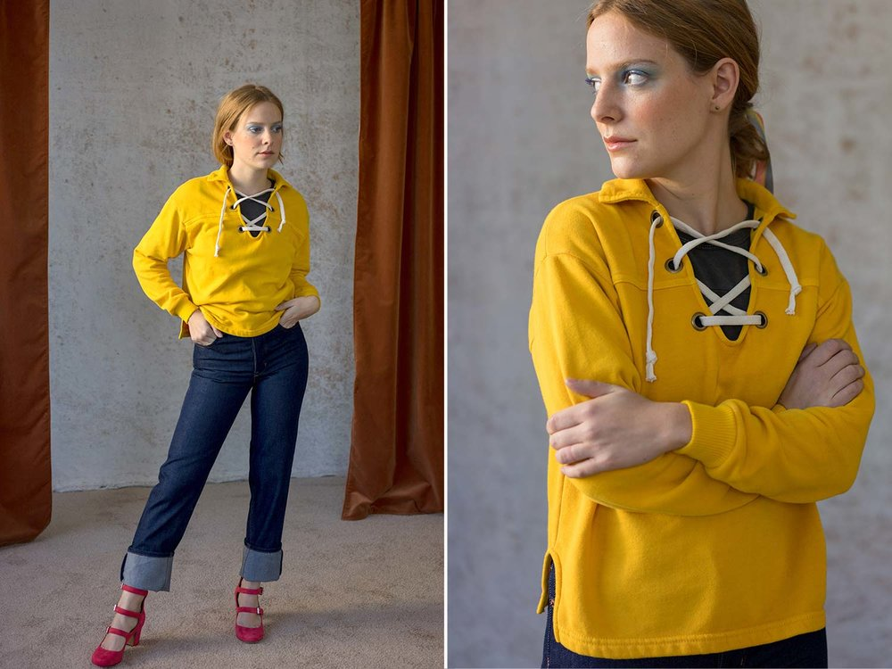 Bliss And Mischief-O'Hara Sweatshirt in Ochre and Collector Fit Denim in Rinse