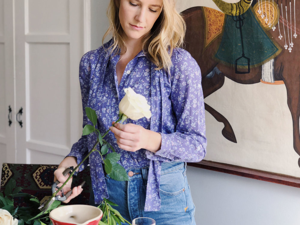 Katherine wearing a  vintage Wales blouse  in her Silver Lake home.