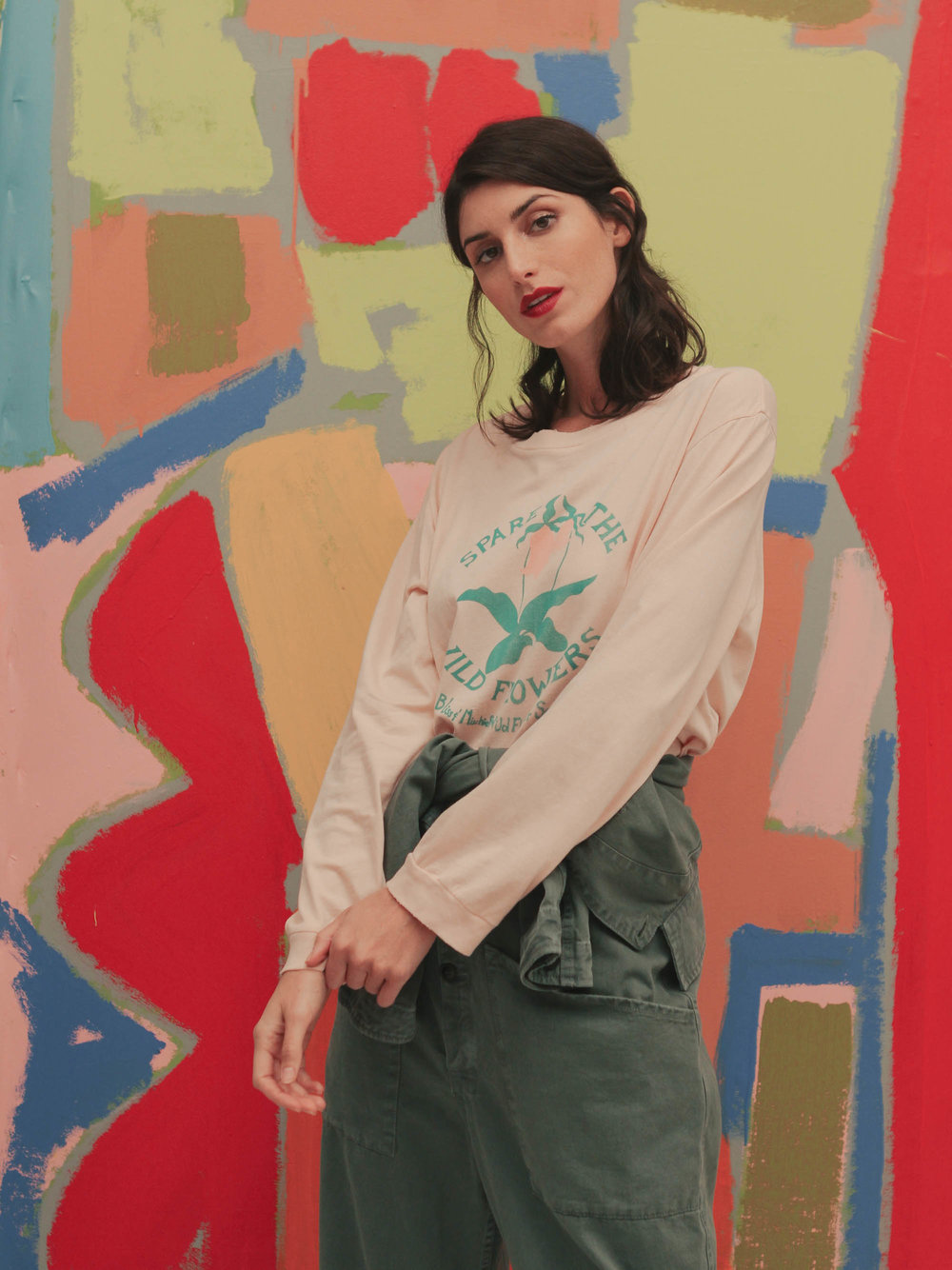 Bliss And Mischief-'Spare the Wildflowers' Long Sleeve Tee in Bisque