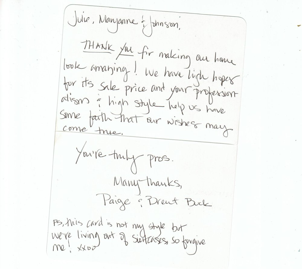 We love handwritten thank you notes from our beloved clients!