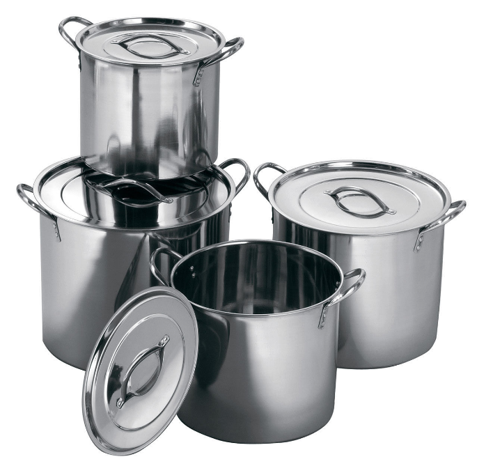 A nest of stainless steel stock pots - Stainless steel is non-reactive so these are useful pots for natural dyeing.