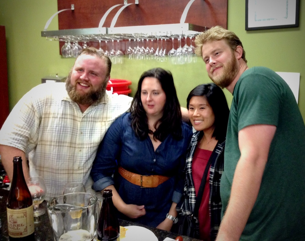Eric Cripe and Kate Cripe with the newly engaged Melisa Hsu and Evan Cripe. Evan has continued Eric's beer tastings at The Jug Shop and is taking over buying for them.