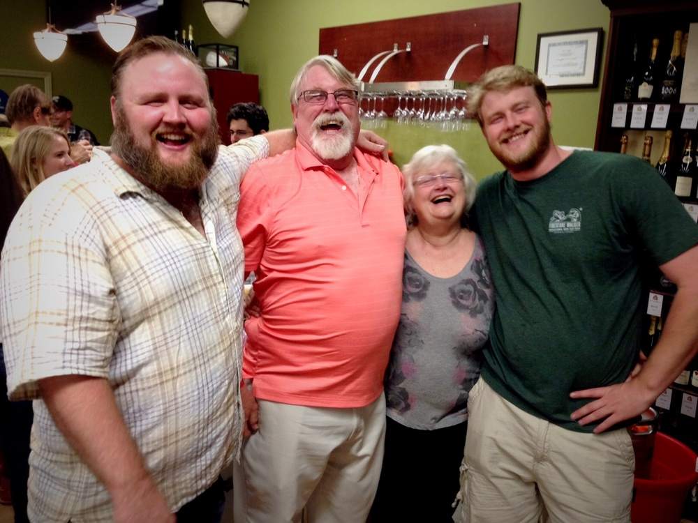 "Eric and Evan Cripe hanging with their parents at Eric's ""Last Call"" beer tasting at The Jug Shop"