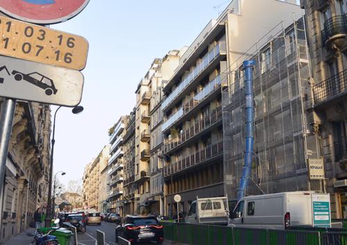 04 2016:gros œuvres commencent sur l'immeuble de logements Rue Poussin à Paris
