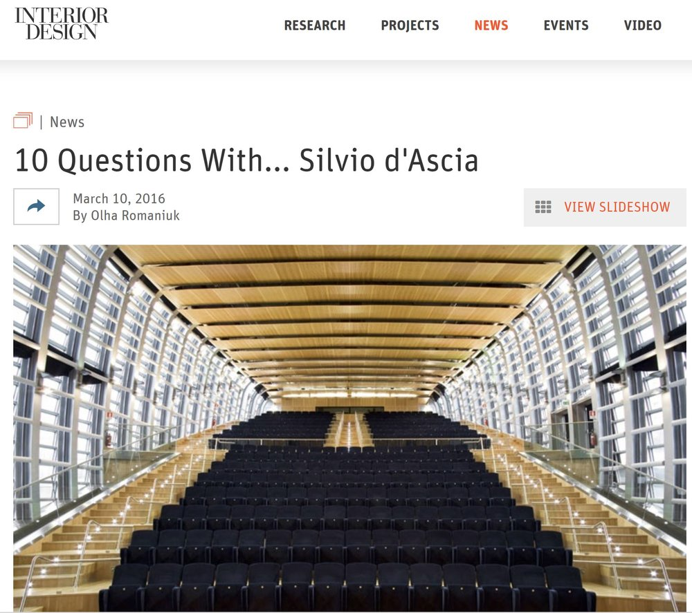 Interior Design | March    10 Questions With... Silvio d'Ascia