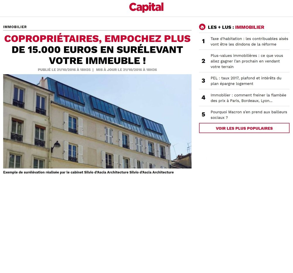 Capital | October    Les opérations de surélévation d'immeubles
