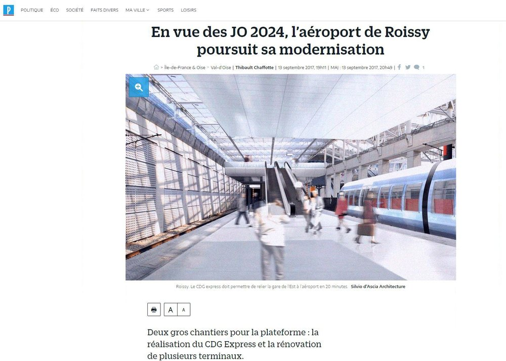Le Parisien | September   En vue des JO 2024, l'aéroport Roissy poursuit sa modernisation