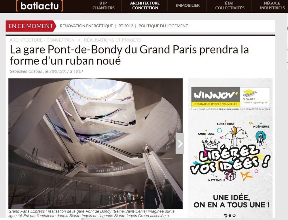Batiactu | July   La gare Pont-de-Bondy du Grand Paris prendra la forme d'un ruban noué