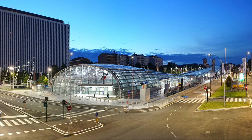 Aperçu du nouvel aménagement urbain autour de la Gare TGV Porta Susa, Turin.