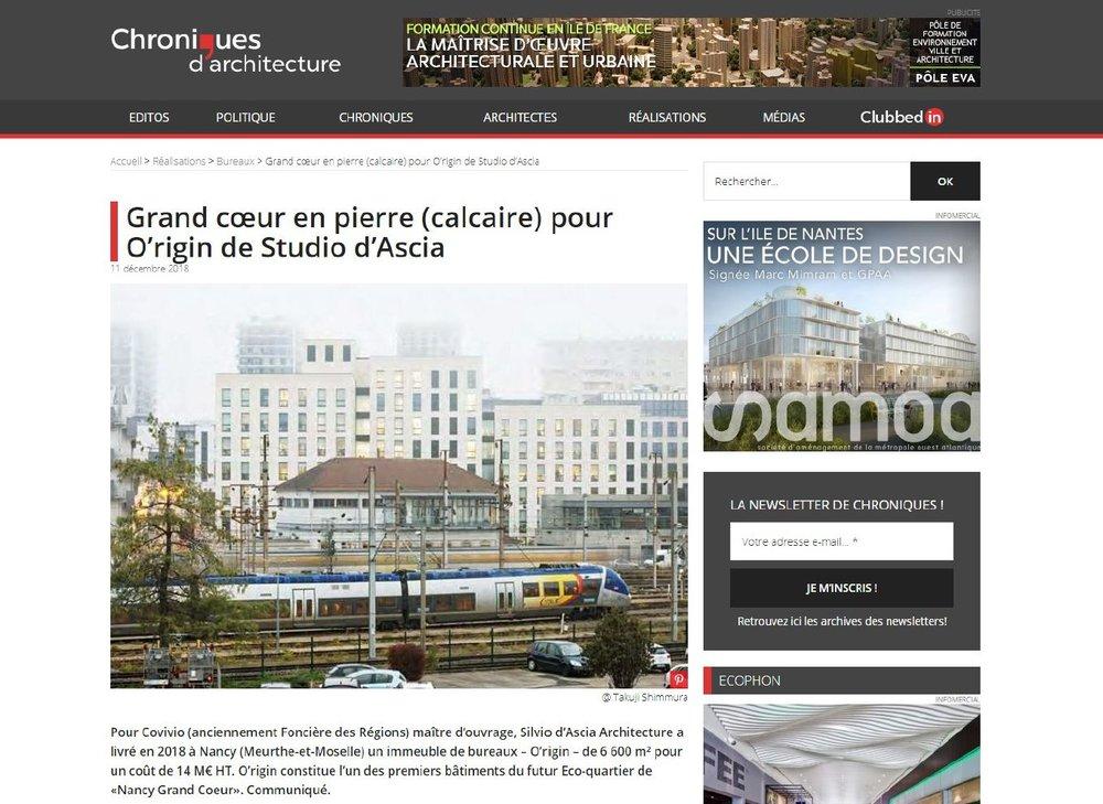 Chroniques d'architecture | December   Grand cœur en pierre (calcaire) pour O'rigin de Studio d'Ascia