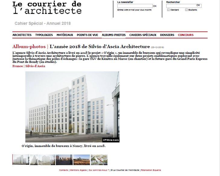 Le Courrier de l'Architecte | December   The Year 2018 of Silvio d'Ascia Architecture