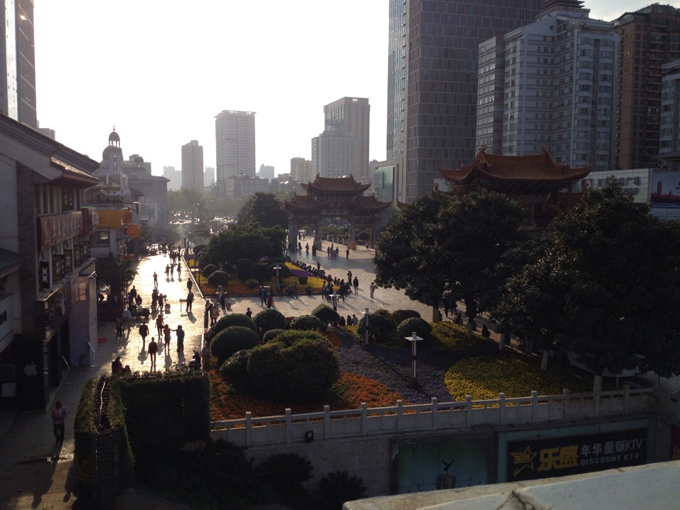 The Jin Ma square in the center of Kunming