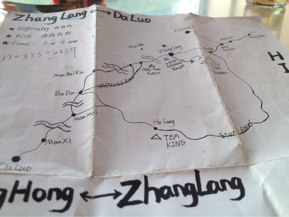 Xiaosan's homemade hiking map. Literally Xiaosan means Little Tree