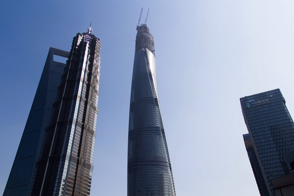 The Shanghai Tower in March this year. The top part is still under construction