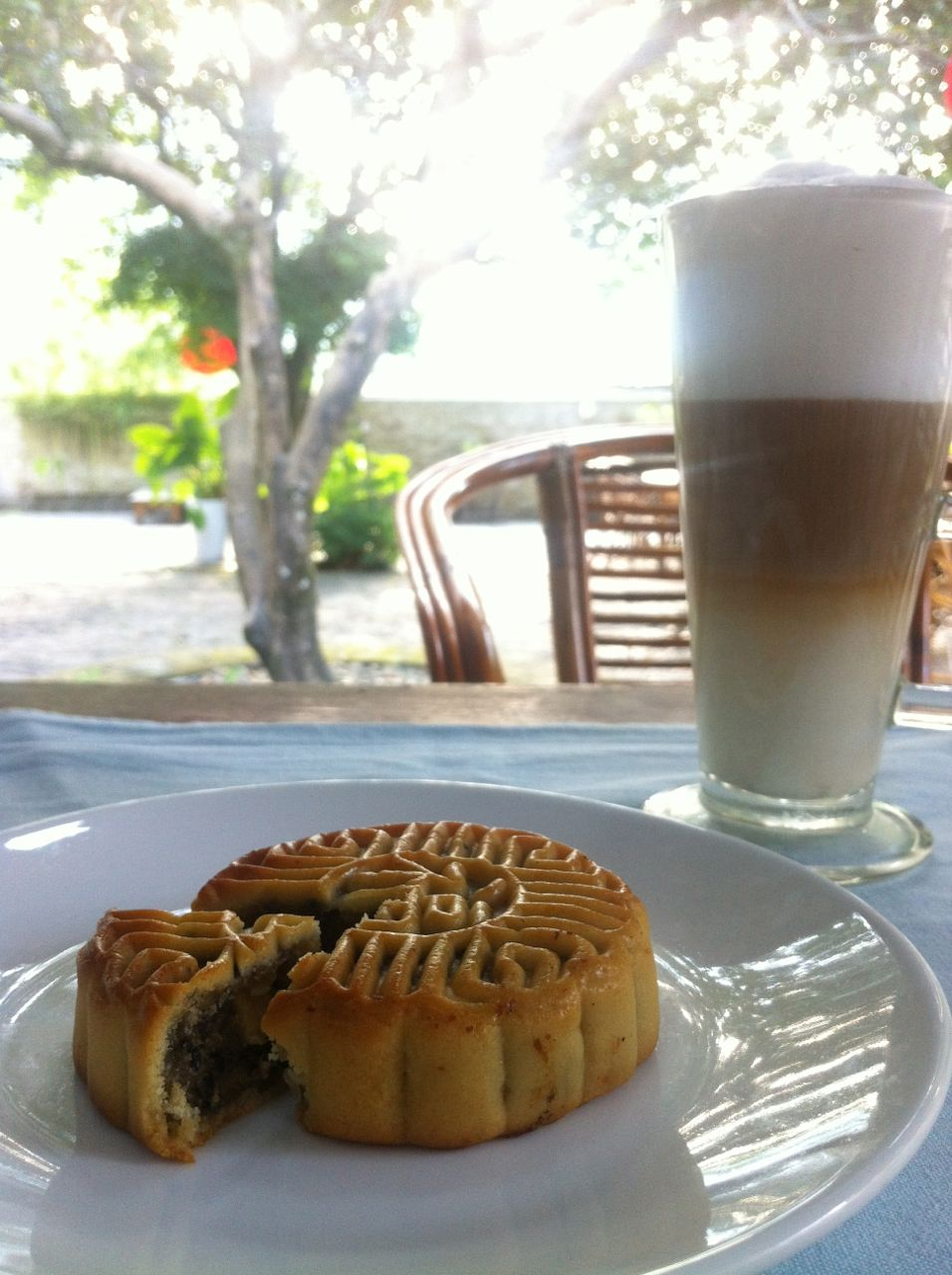 Enjoying traditional mooncake with traditional latte... Happy Full-Moon Festival!