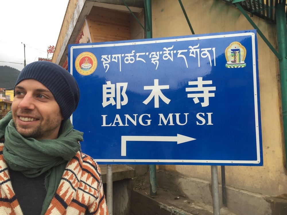 This sign on the main road supposedly divide Langmusi into 2: Sichuan province and the GansuProvince
