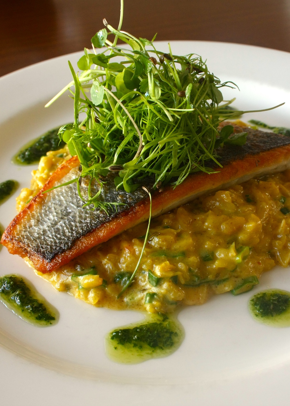 ... SEA BASS WITH SPICED CRAB RISOTTO & SALSA VERDE — The Wee Restaurant