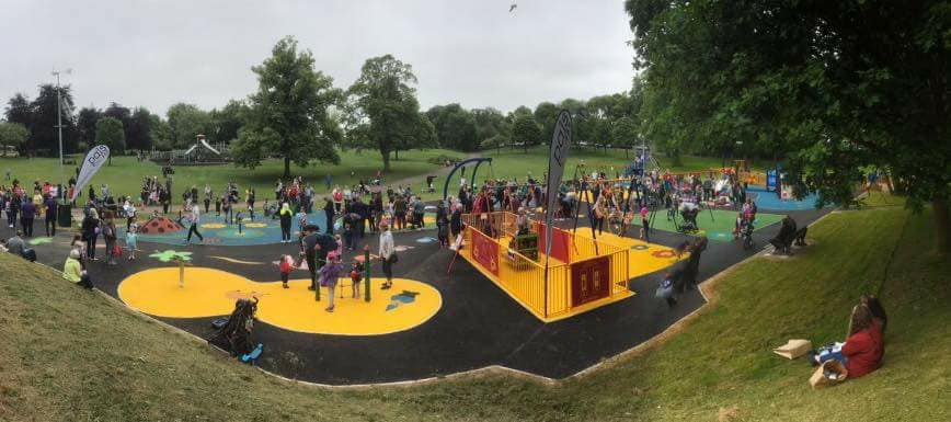 THE NEW PLAY PARK BEING ENJOYED ON THE OFFICIAL OPENING DAY IN JUNE 2018