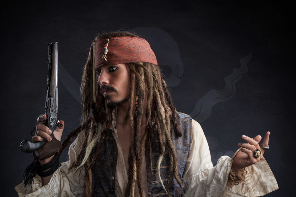 Jack Sparrow with a gun