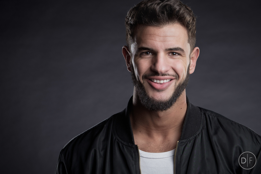 Male model smiling